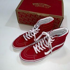Vans men's high top in red 0636